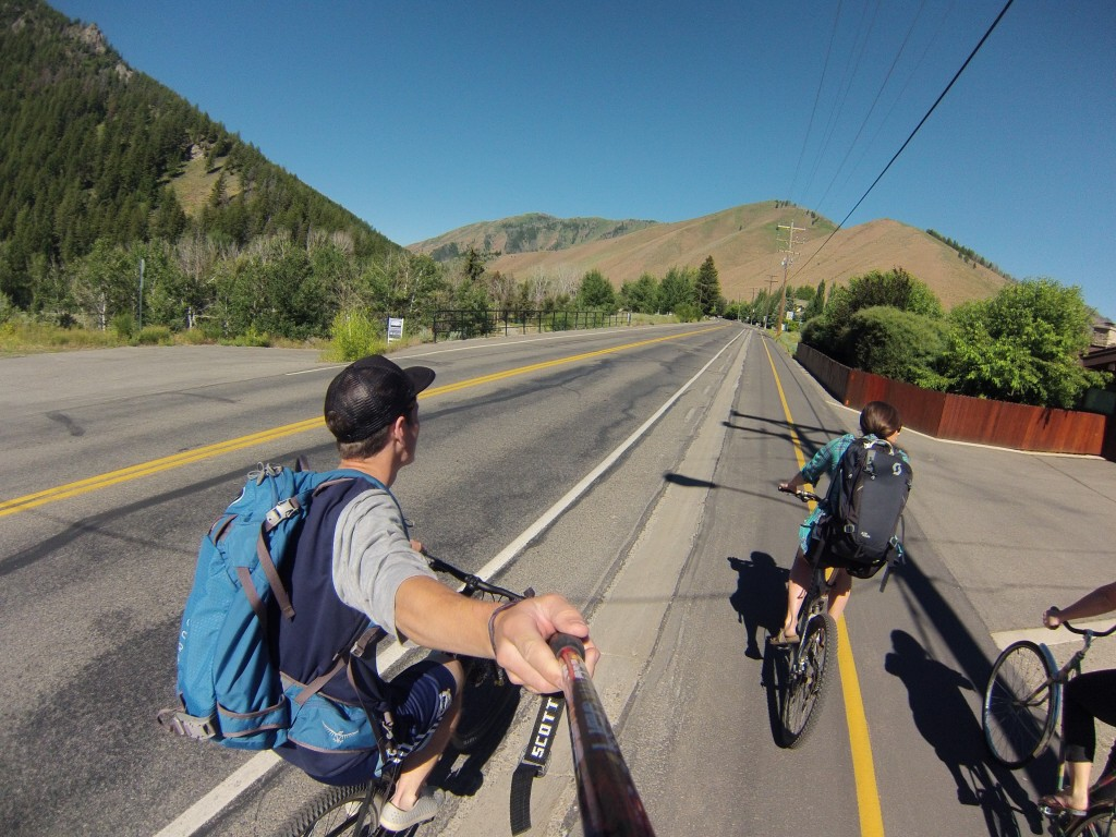 Cruising down Warm Springs; bikes are most peoples primary transportation