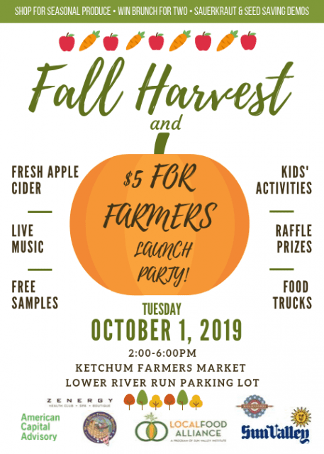 Fall Harvest & $5 for Farmers Launch Party @ Ketchum Farmers Market at River Run | Idaho | United States