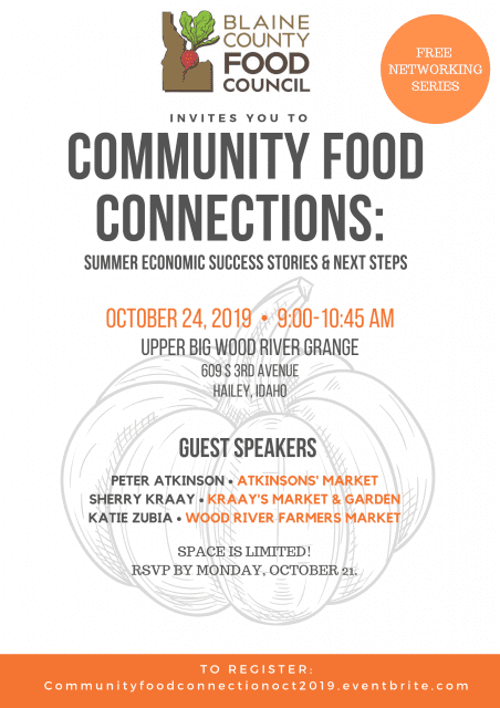 Community Food Connections: Summer Economic Success Stories & Next Steps @ Upper Big Wood River Grange | Hailey | Idaho | United States